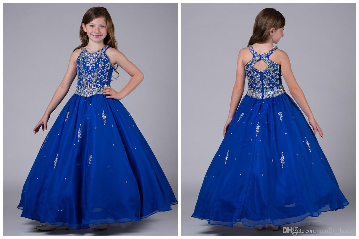 Real Image Blue Girls Pageant Dresses 2017 Ball Gown Shiny Beaded Crystal Top Cheap Precio Crew Cuello Organza Piso Longitud Niños Dress