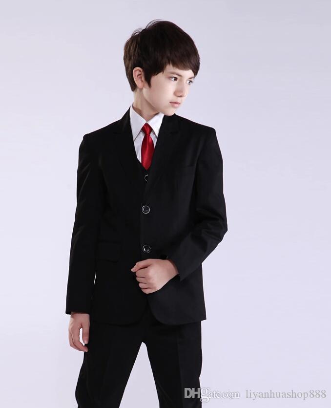 мода черный мальчик костюмы две кнопки мальчик смокинги зубчатый лацкан дети костюм дети свадьба/выпускного вечера костюмы из трех частей костюм куртка+жилет+брюки+галстук
