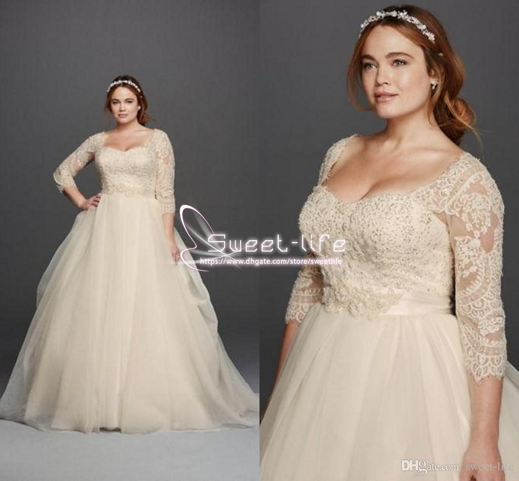 Plus Size 2017 Oleg Cassini Wedding Dresses 3/4 Sleeves Lace ...