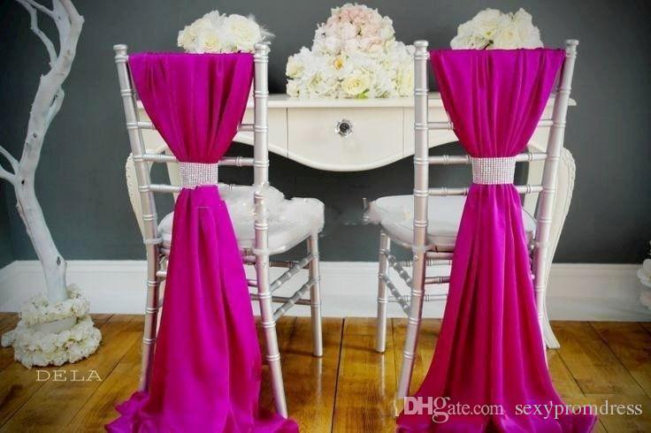 Romantic Chiffon Wedding Party Anniversary Chair Sash Party Banquet Decorations / Set Wedding Chair Sash 150cmx50cm