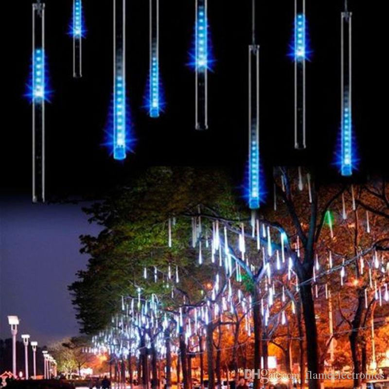 2018 super christmas light snowfall tube 50cm 30cm tubepower adapter meteor shower rain amazing led tube string xmas lights from flameelectronics