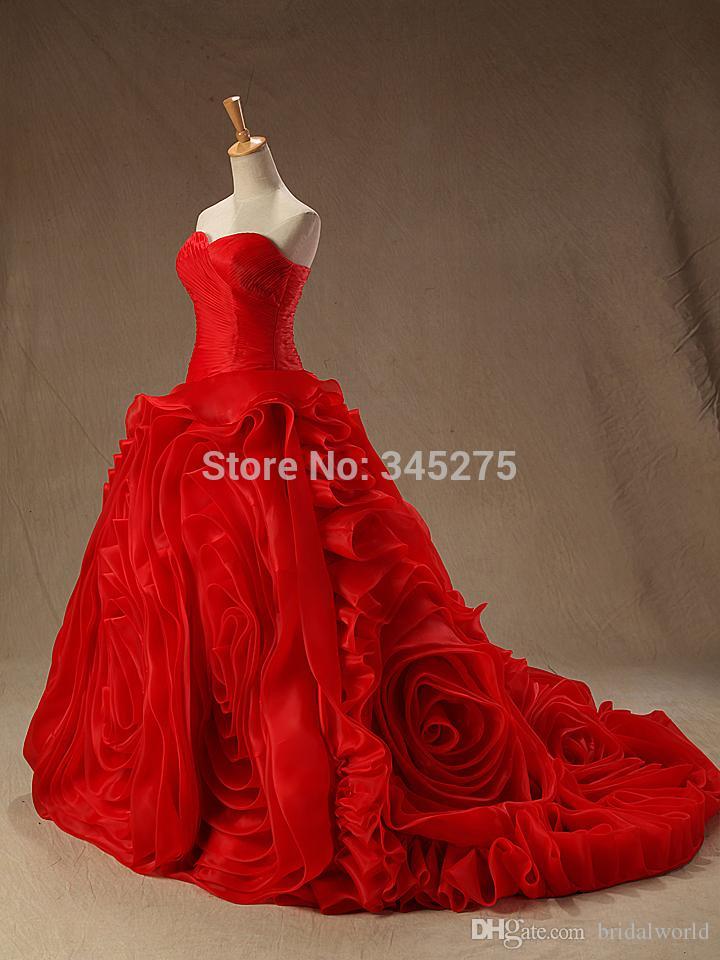 Vestidos de boda rojos baratos vestidos de novia de organza vestido de novia elegantes remolinos de novia plisado acanalado diseñador encaje vestidos de boda fotos reales