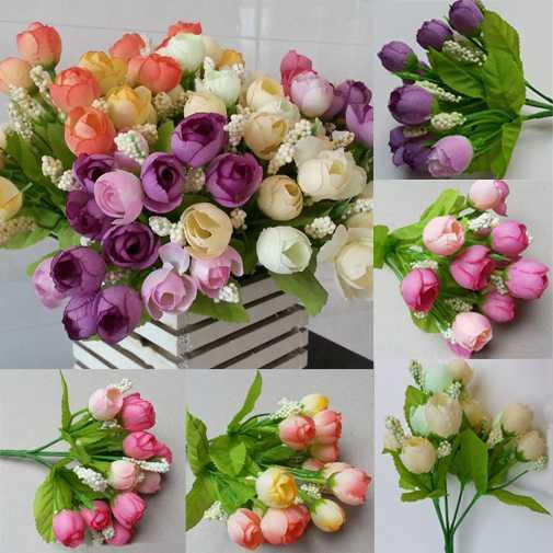 New 15pcs Artificial Flowers For Wedding Decorations Fake Silk Rose Flower Bouquet Home Decor Party Decoration