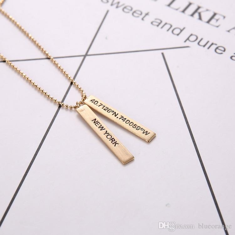 lettering pendant New York Florida Texas Latitude and longitude dog tag Novelty necklace jewelry Christmas gift for women men