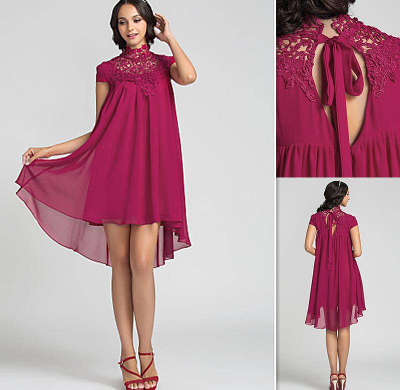 Designer Cocktail Dresses High Sheer Neckline Burgundy Chiffon And ...