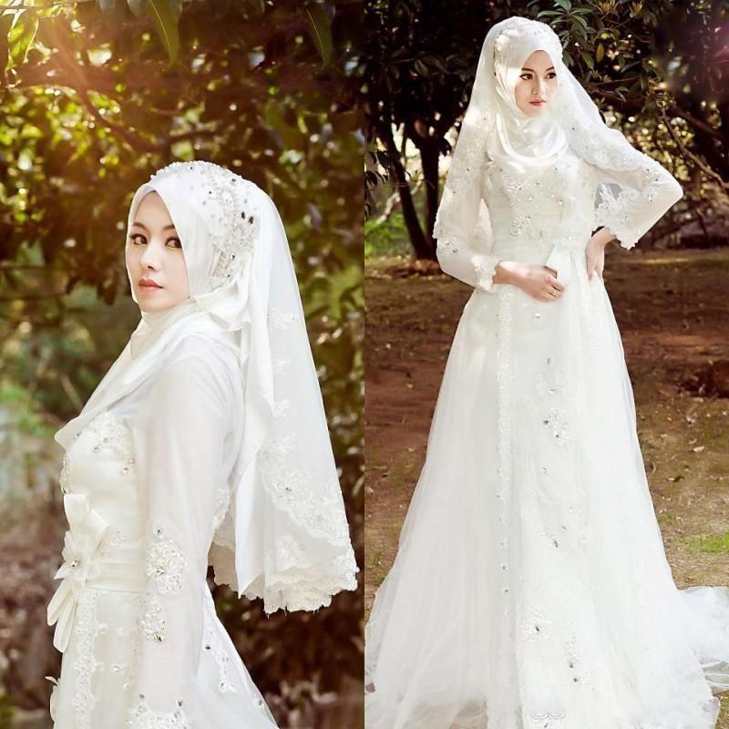 Acheter 2019 Musulman Terbaru Robes De Mariée Hijab Veil Perles Brillantes  Cristaux De Tulle Dentelle Robes De Mariée Manches Longues Balayage Train  Robes
