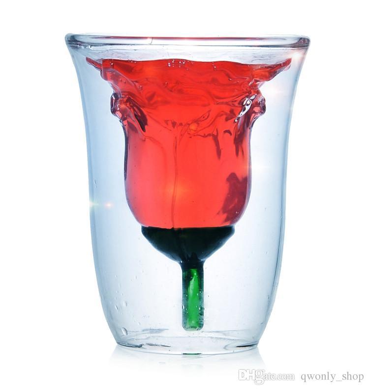 Nouveau Noces de Noces 180 ml Saint Valentin Rose Bowl ROSE VERRE Hong ZOYO Double-vitrage en verre de vin rouge Spirits Livraison gratuite