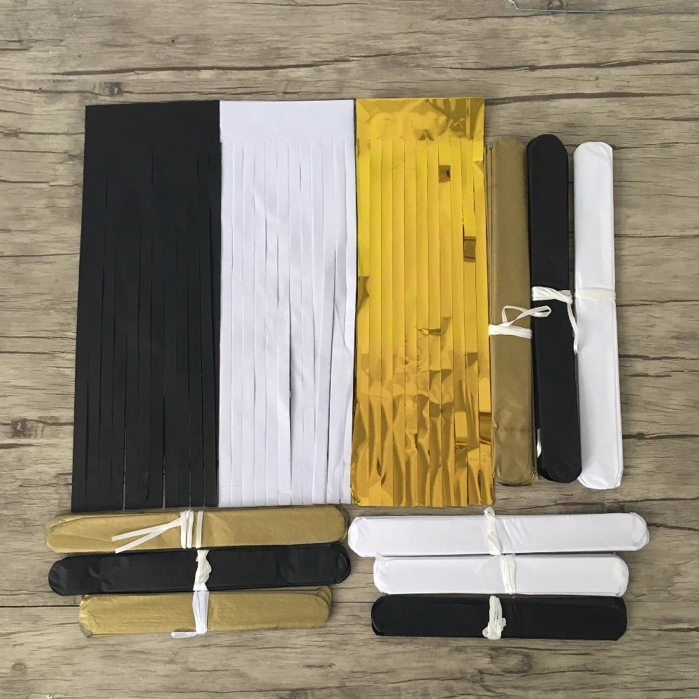 Paper Pom Poms Flowers Tissue Tassel Garland Paper Garland Kit for Birthday Wedding Party Decorations - Black Whiet Gold
