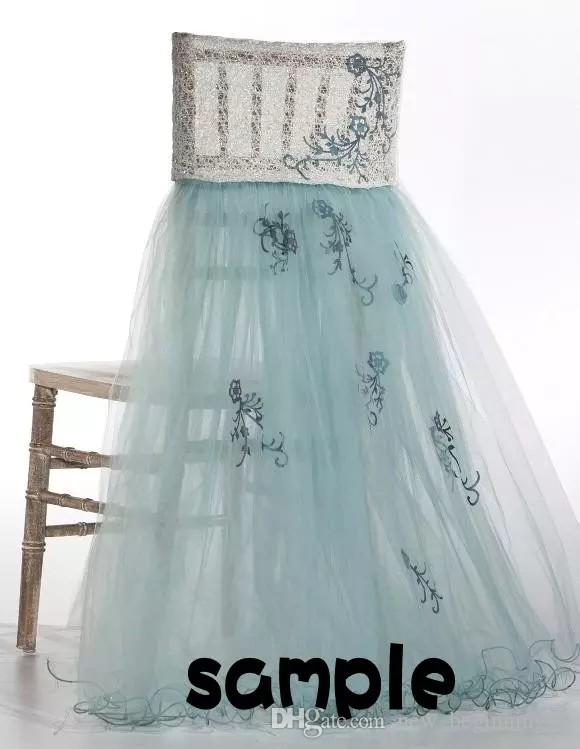 2018 For Lace Tulle Chair Sashes Chair Covers Sample Link CS07
