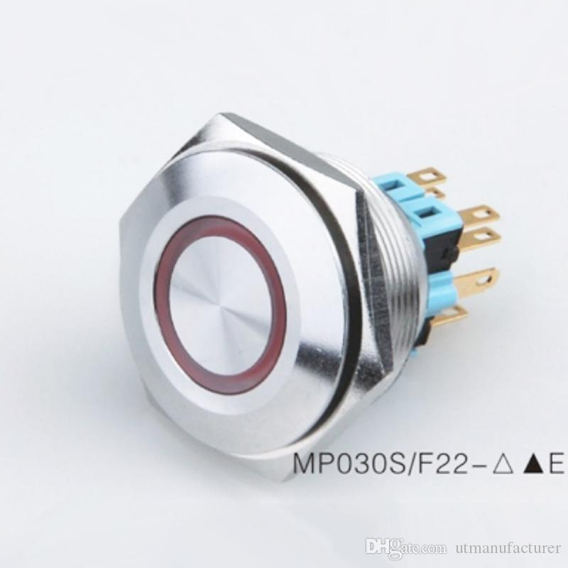 30mm 금속 안티 반달 방수 IP67 12V 24V 주도 조명 푸시 버튼 스위치 순간 / 자동차 / 초인종을 위해, 푸시 버튼 해제 래치