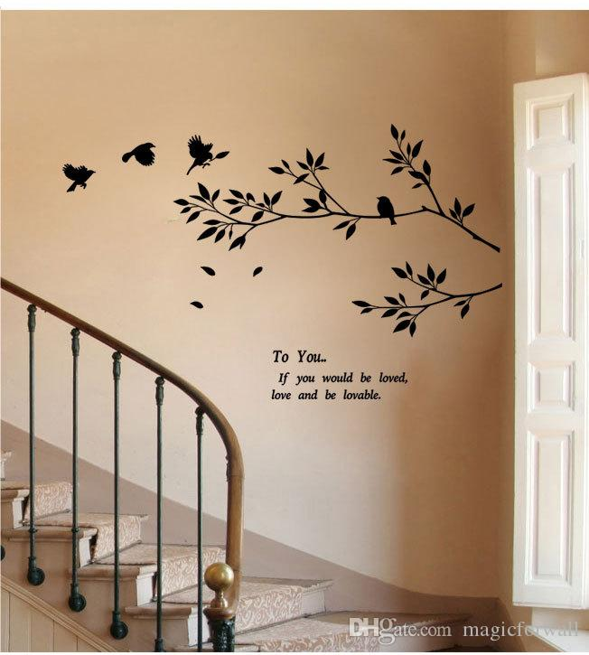 Black Wall Decal Art Sticker Birds Flying to the Tree Branch Wall Art Mural Poster Loving Quote Wall Decal DIY Home Decoration Decor