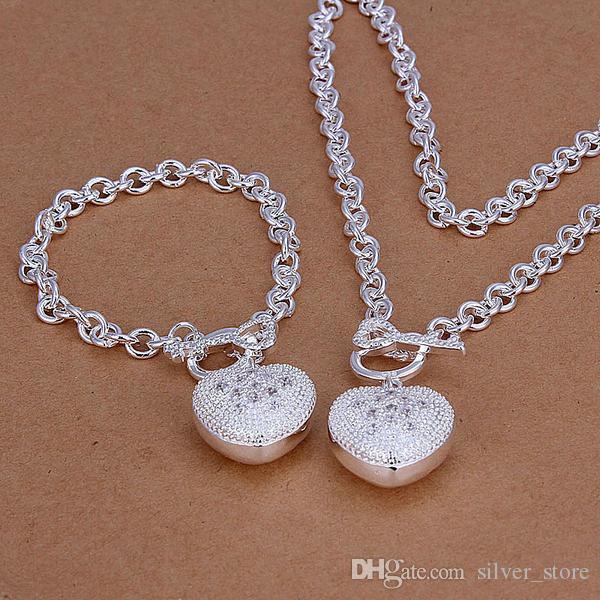 عالية الجودة 925 قلوب الاسترليني من ملاعق الحجر إلى قطعة مجوهرات مطعمة مجموعة DFMSS025 العلامة التجارية الجديدة المصنع مباشرة 925 الفضة