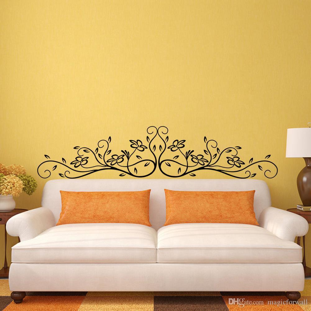 Nieuwe Collectie Zwarte Bloemen Rotan Wall Art Muurschildering Decor Sticker Mode Hoofdeinde Muur Grafische Poster Decal Bedside Wand Applique