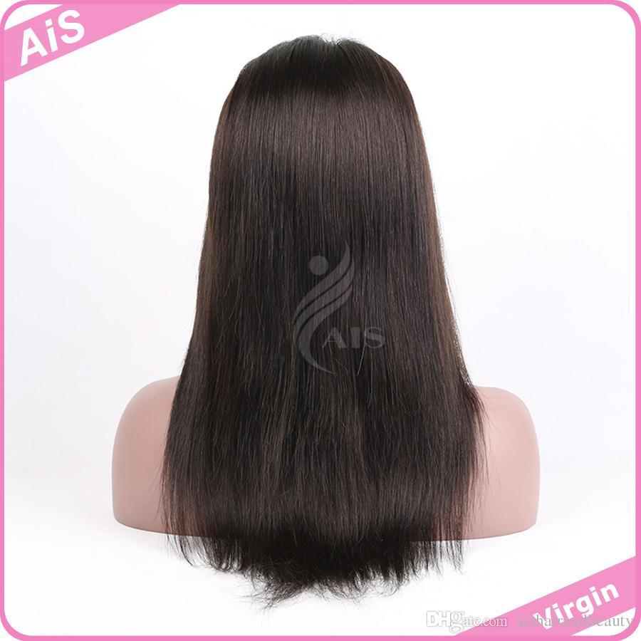Dantel Peruk 7A 100% İnsan Saç Tam Ön 360 Dantel Peruk Bebek Saç Doğal Siyah 1B ile Brezilyalı Saç Remy