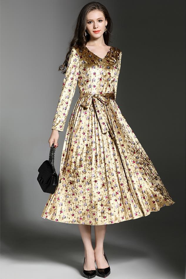 Großhandel Casual Winter Kleid Frauen Vintage Blumendruck Sexy ...