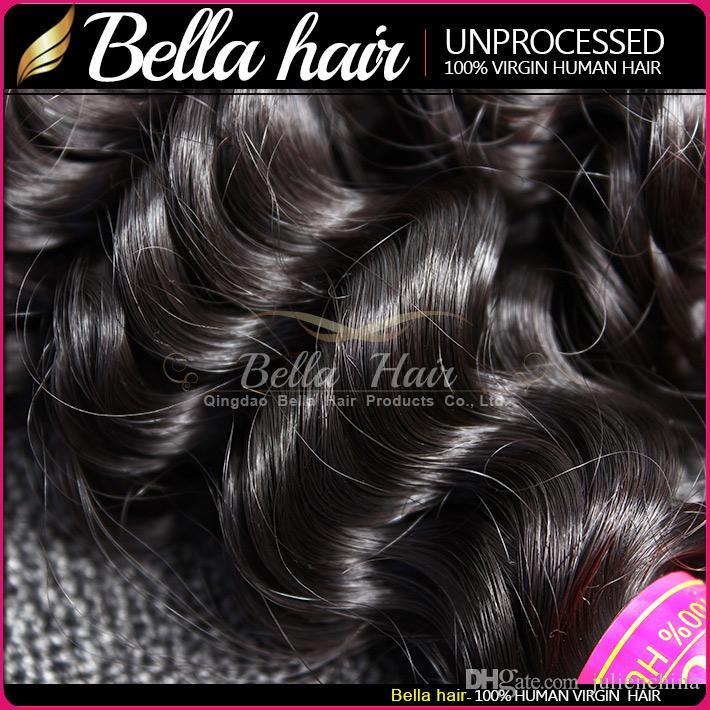 Bellahair 10 ~ 24Inch Virgin Indian Human Hair Extension Obehandlad Naturlig Färg Deep Wave Julienchina 2 Bundlar