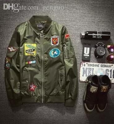 Fall Bomber Jacket Men Army Green Jackets Mens Stand Collar ...