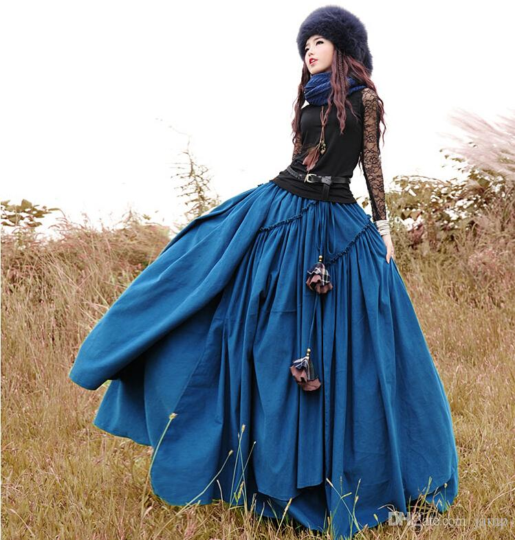 2a216d20d4f 2019 2018 Boshow Autumn And Winter Long Maxi Elastic Waist Layered Skirt  With Big Hem For Women Corduroy Bohemian Skirt Boshow From Jamp