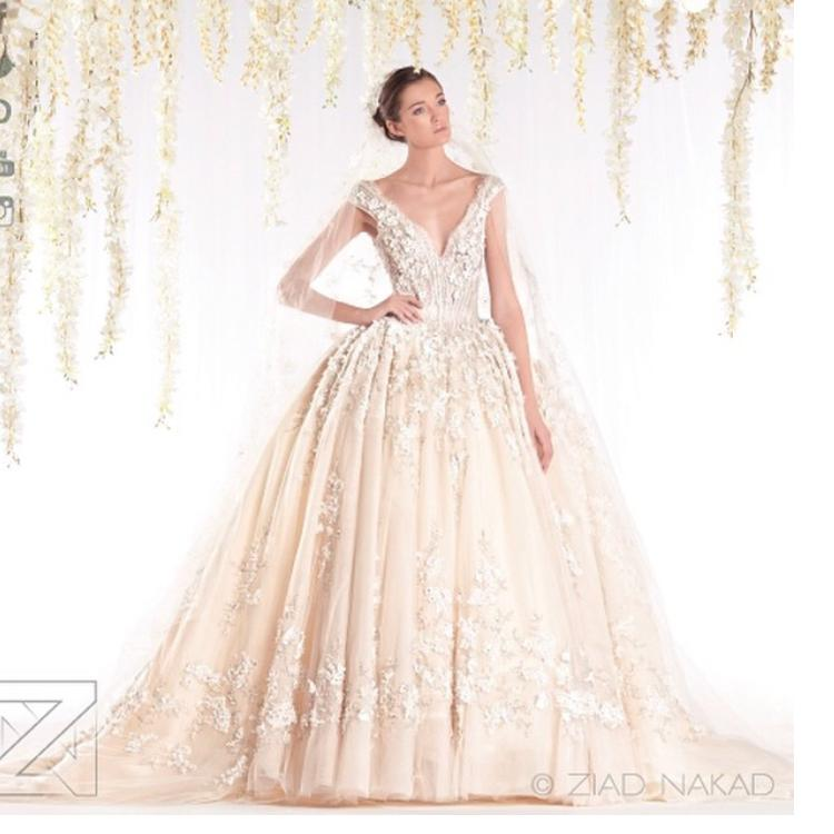 Designer ziad nakad v neck wedding dresses 2016 ball gown for Ziad nakad wedding dresses prices