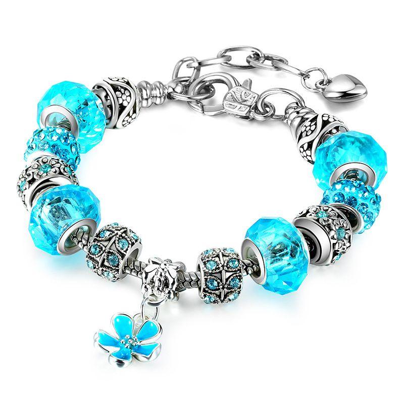 DIY Charm Bracelets Round Ball Bead Bangles Bracelets For Women Girls European Charm Charms Jewelry Wholesale 6 Styles Bling Crystal