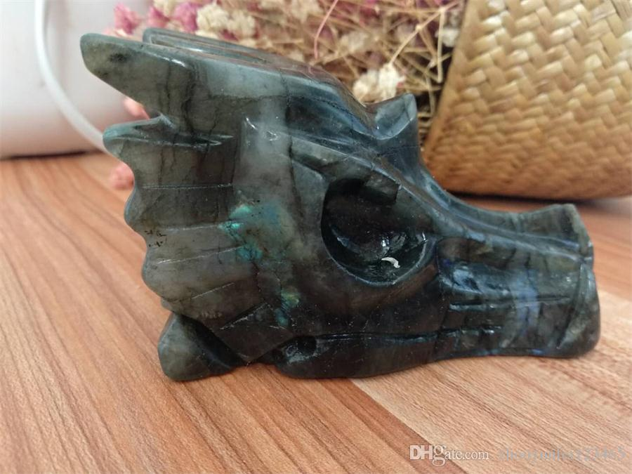 Natural labradorite Dragon Skull/Head crystal reiki healing carving for home decoration stone skull
