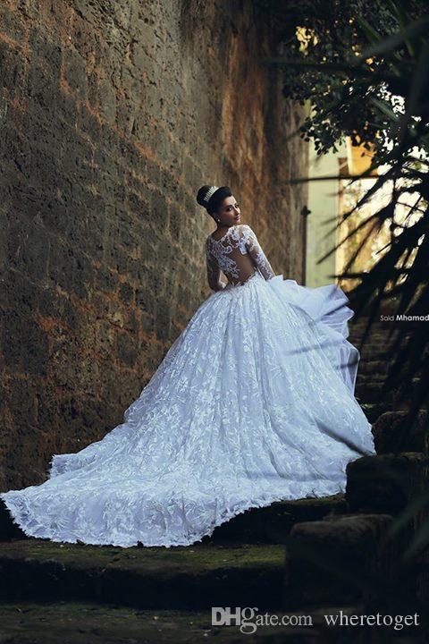 Kaftan Dubai Arabic Muslim Wedding Dresses Ball Gown Sheer Neck Long Sleeve Wedding Dresses Lace Chapel Train Bridal Dresses 2019