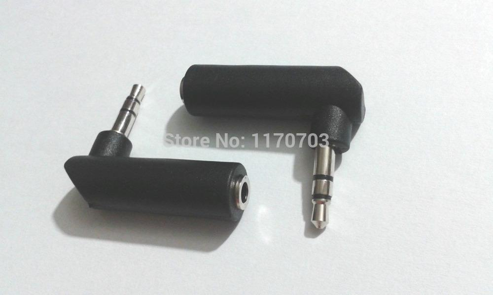 3.5mm Headset Jack Audio Connector Male To Female Adapter Plug 90° Elbow Black
