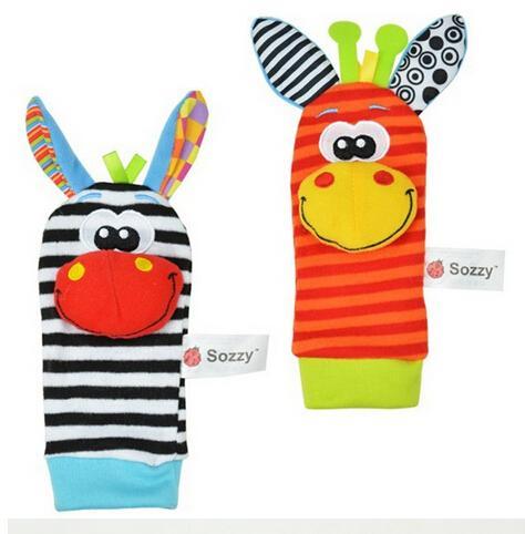 Yeni Lamaze Stil Sozzy çıngırak Bilek eşek Zebra Bilek Çıngırak ve Çorap oyuncaklar 1 takım = 2 adet bilek + 2 adet çorap