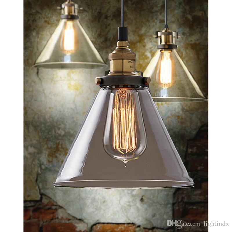 Discount Retro Vintage Industrial Glass Shade Loft Pendant Light