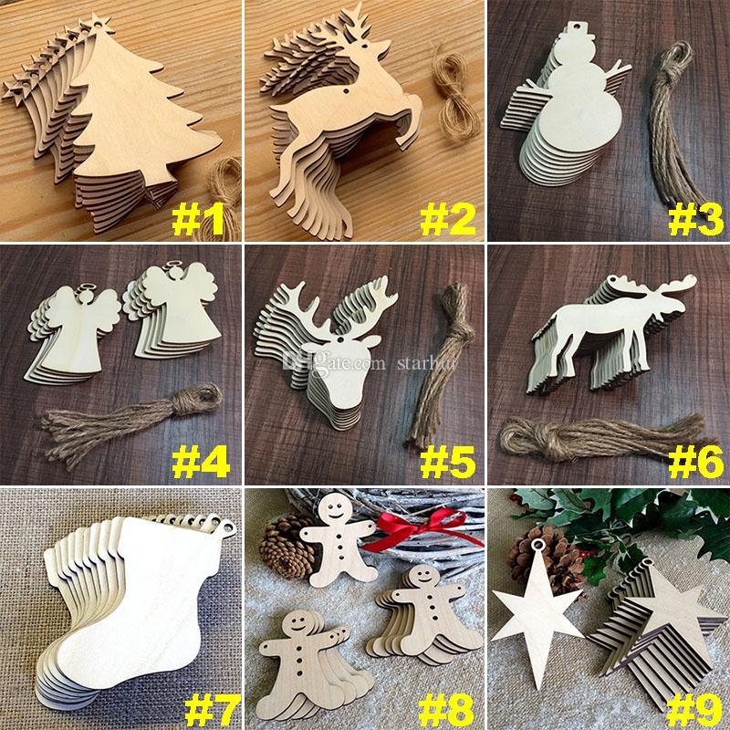 Enfeites de árvore de natal de madeira chip de árvore de boneco de neve por atacado cervos meias pendurado pingente de decoração de natal presente de natal 10 pçs / lote WX9-123