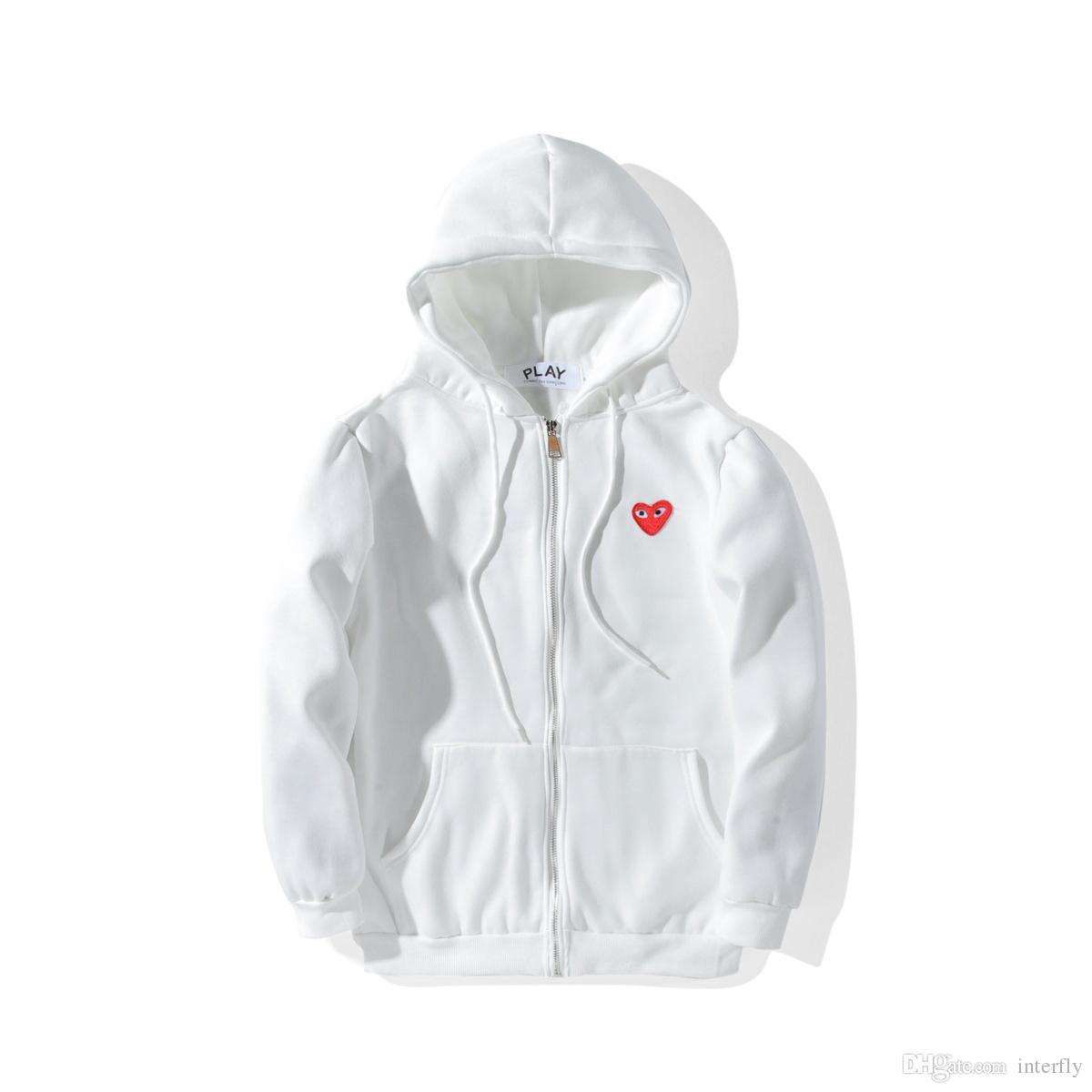 2018 İlkbahar Sonbahar Marka Giyim Oyna Kazak Artı Boyutu Gevşek Kırmızı Kalp Nakış Karakter Kapüşonlu Hoodie Erkek Kadın Kazak Hoodie