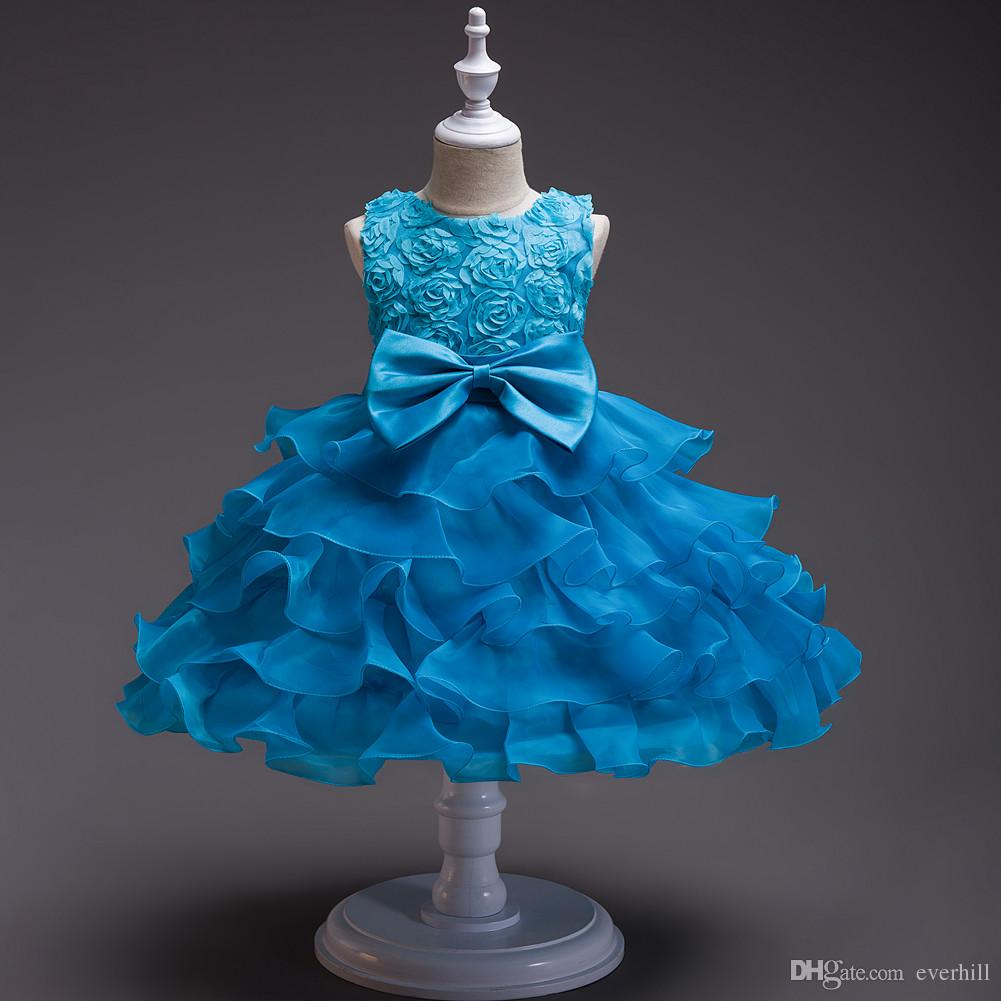 Jane Vini Lovely Ball Gown Champagne Flower Girl Abiti con fiori 3D Rose Comunion Girls Wedding Pageant Dress Abiti Champanhe Festa