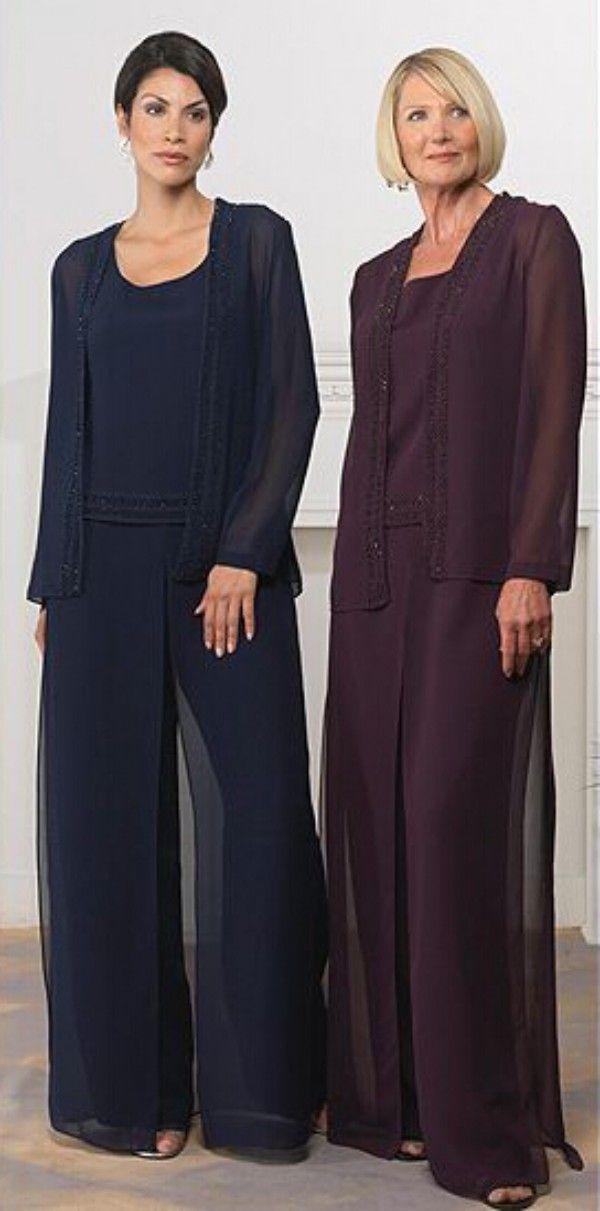 뜨거운 판매 우아한 웨딩 바지 정장 신부 드레스의 어머니 어두운 네이비 포도 보라색시 폰 맞춤 결혼식 파티를 위해 만든