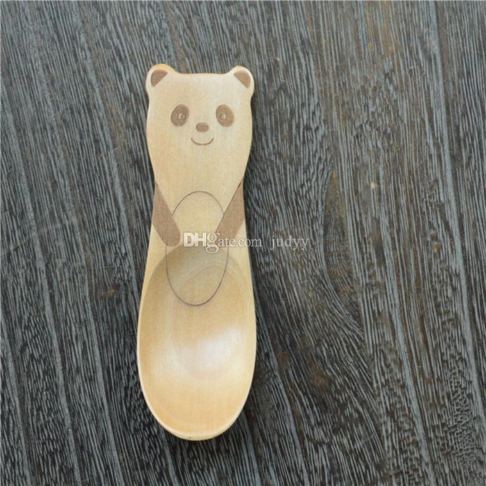 Baby Feeding New Style Creative Animal Nature Healthy Kids Wooden Spoons Infant Spoon Teaspoon Tableware Cutlery Tools