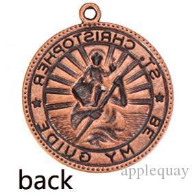 Diy подвески ювелирные изделия браслеты ожерелья кулон святого христофора религии круглые старинные серебряный металл с застежкой выводы ювелирных изделий 50 шт.