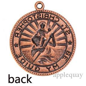 diy charms jewelry bracelets necklaces pendant St Christopher religions round vintage silver metal with clasp fashion jewelry findings