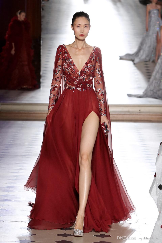 Vestidos de noche laterales de color rojo oscuro con cuello en V Apliques Mangas largas Con cuentas Vestidos de fiesta Vestidos Festa Gasa Apliques Vestido formal