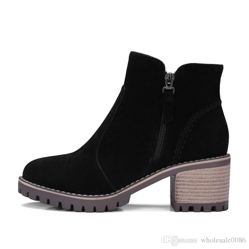 Hot Fashion Women's Ankle Boots Girl's Faux Suede Round Toes Zip Mid Block Heels Shoes B727 Black Brown