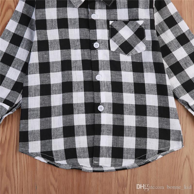 Moda Bambino Bambini Boy Girl Camicia a maniche lunghe Plaid Controlli Manica lunga Top Camicetta Abbigliamento casual Alta qualità Scuola Bambini Abbigliamento 1-7T