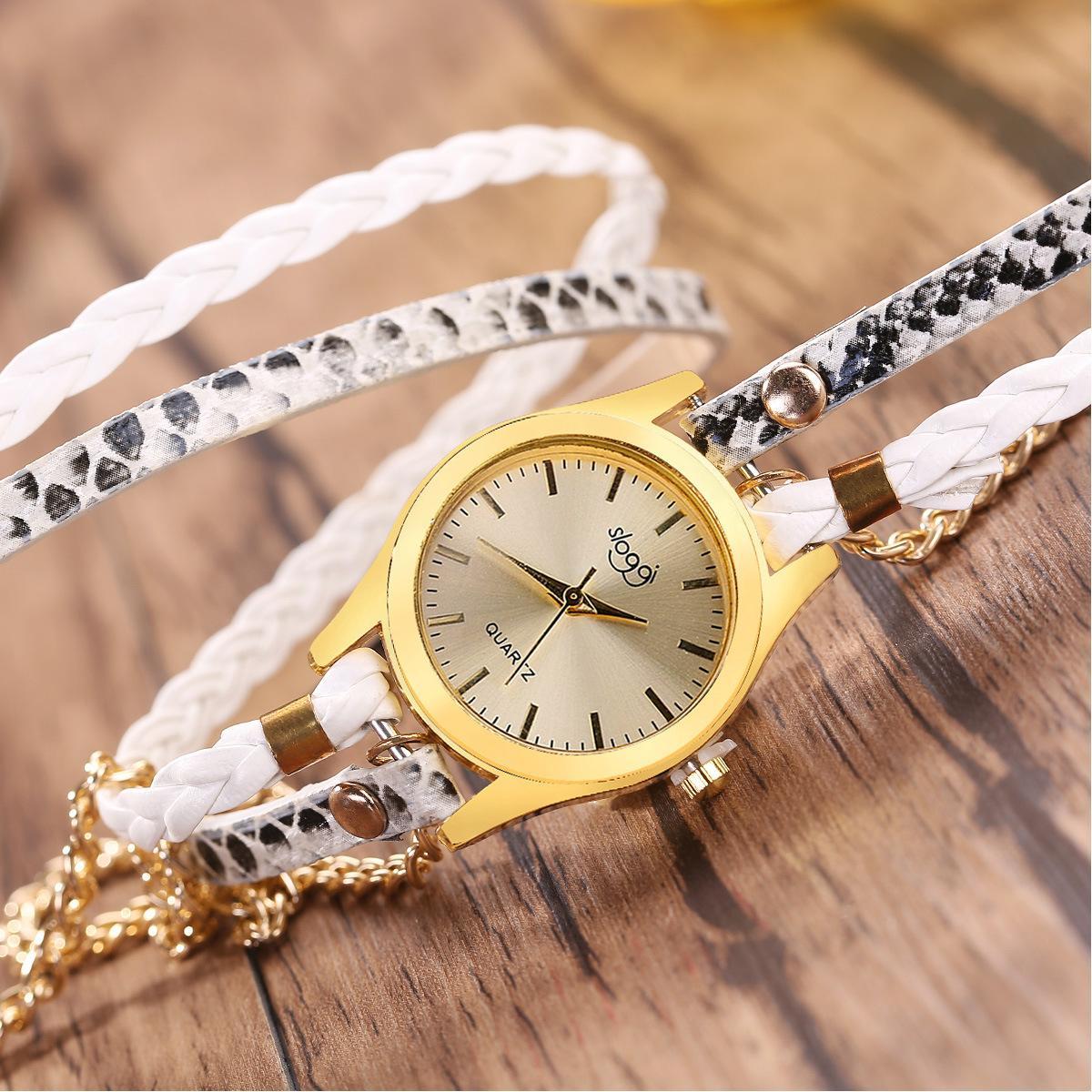 Hot snake Design Band Geneva Handmade Weave watch fashion Women Leather Bracelet Quartz Watch Multicolor Long Straps Dress Wrist Watches