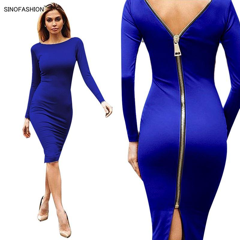 Sexy Night Club Bandage Dress Party Bodycon Dress Vestidos Solid Color Back Zipper Ladies Long Sleeve Slim Knee Dresses