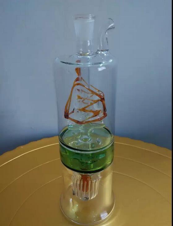 Klasik iki katmanlı renkli filtre cam pot, renkler, stilleri rastgele teslimat, toptan cam nargile, ücretsiz kargo, büyük daha iyi
