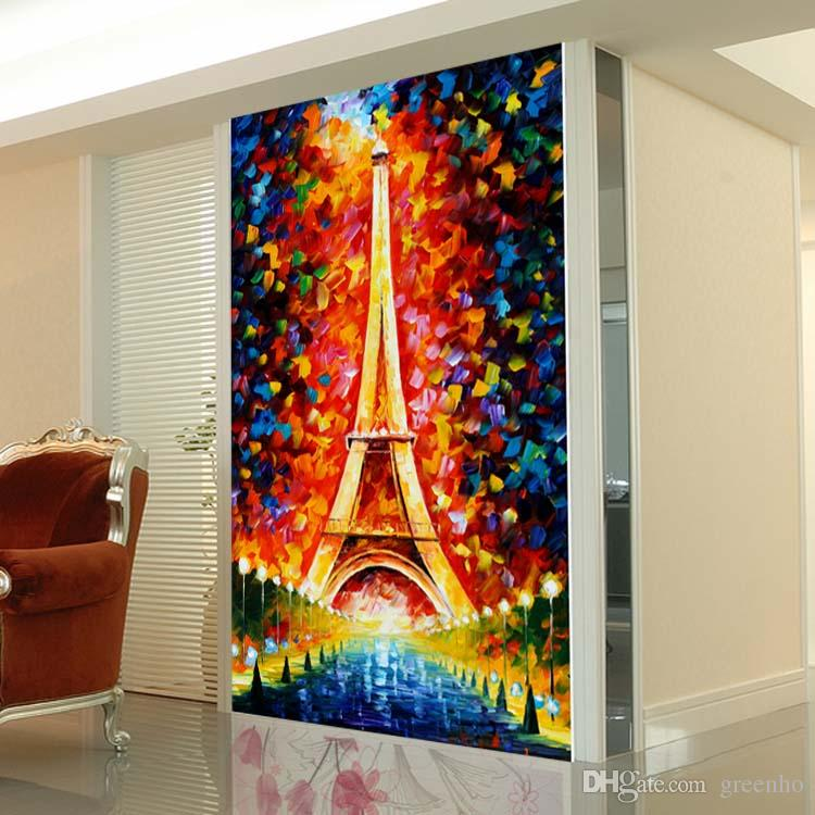Colorful Eiffel Tower Wallpaper Fashion Oil Painting Mural