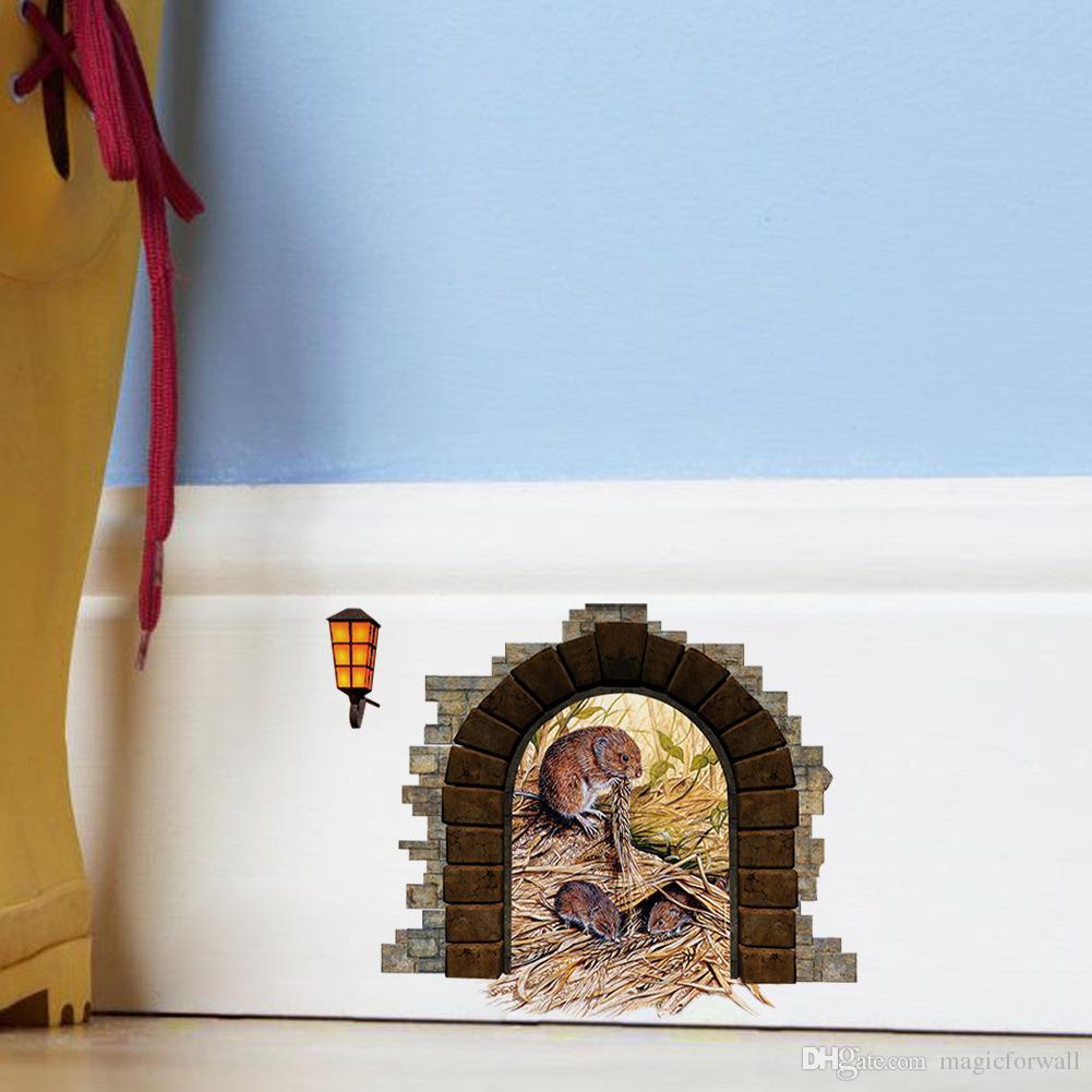 귀여운 쥐 구멍 벽 데칼 스티커 Moule의 둥지 벽 예술 Applique 아이 방 거실 벽 테두리 장식 월페이퍼 장식 벽 그래픽