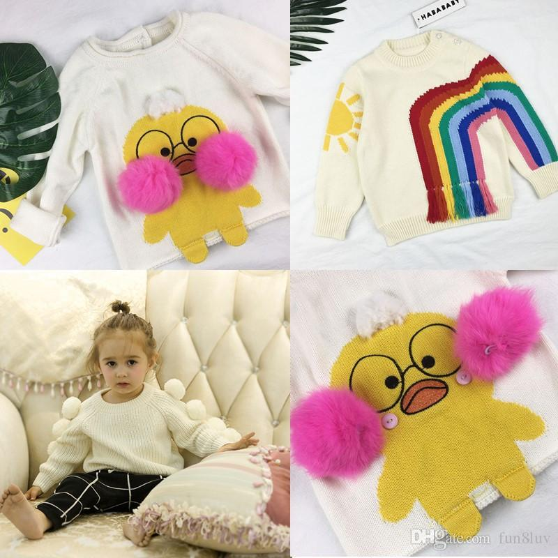 Ins Hyaluronic Acid Duck Baby Girl Pullover Sweater Carton Rainbow ...
