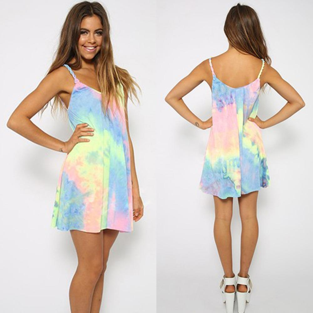Sexy Women Tie Dyed Colored Braid Straps Loose Beach Casual Mini ...