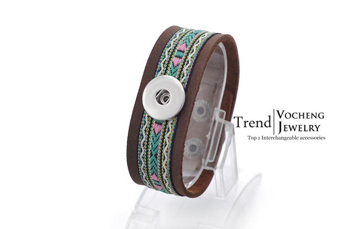 VOCHENG NOOSA سوار جلد المفاجئة سحر 18MM زر مجوهرات الأزياء نسج تصميم Vb-050