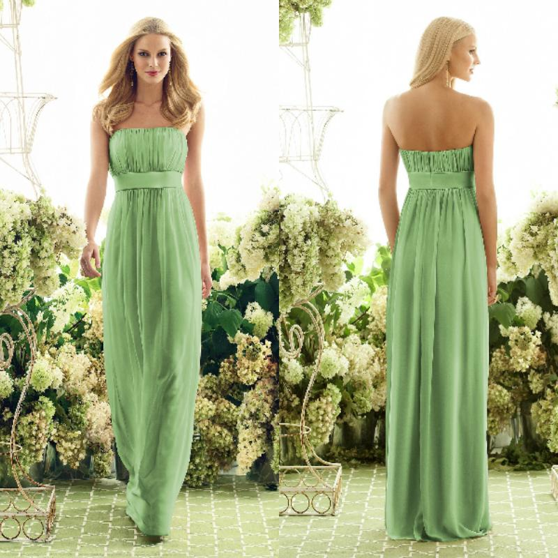 Cheap Long Strapless Floor Length Chiffon Lime Green Bridesmaid Dresses Maid Of Honor Ls092189 Romantica Short Lace