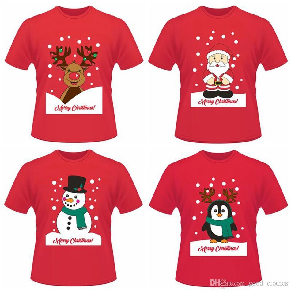 Großhandel Weihnachten Lustige Kurze T Shirts Weihnachtsmann Elch ...