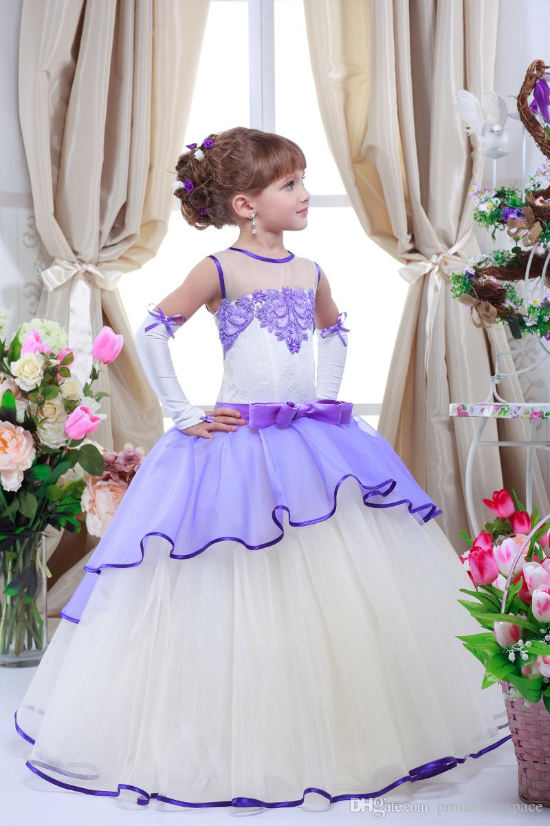2016 Romantic Purple Lavender Lilac Flower Girl Dresses for Weddings Jewel Neck Tulle Floor Length Lace Appliqued Kids Wedding Dresses